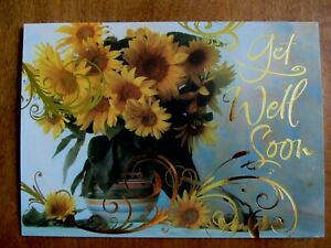 One Get Well Greeting Card & Envelope - Sunflowers in Colorful Vase - Gold Accts
