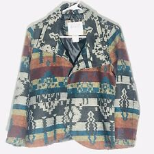 Billabong Jacket Tweed Wool Blend Coat Aztec Design Vintage Women's Size S