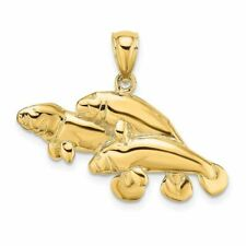 14K Yellow Gold 2-D Three Manatees Charm Pendant Msrp $420
