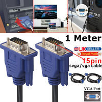 1 METRE VGA/SVGA 15 PIN MALE TO MALE PC MONITOR TV LCD PLASMA LED TFT CABLE LEAD