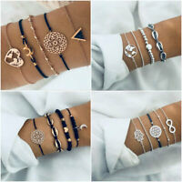 Fashion 4Pcs/5Pcs Fashion Women Boho Heart Beads Bracelet Bangle Chain Jewelry