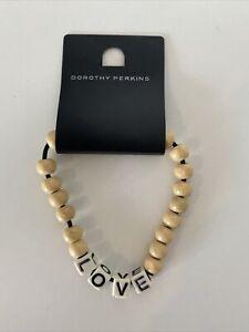 Dorothy Perkins Beige Beads & White Letters Spelling LOVE Bracelet BNWT