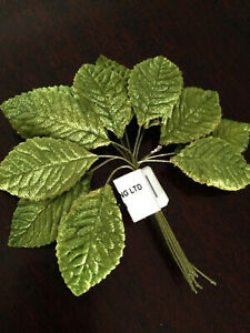 Green Velvet Rose Leaves Wired Millinery Corsage Bouquet x 12