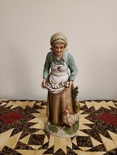 Vintage Retired Homco Old Woman Farmer Chicken Figurine Home Interior Farm #1434