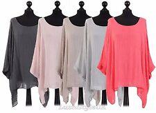 New Ladies Lagenlook Batwing Top Women Plain Linen Tunic Top Plus sizes