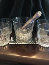 Crystal Etched Ice Bucket With (4) Double Old Fashion Glass Set 7 Pc