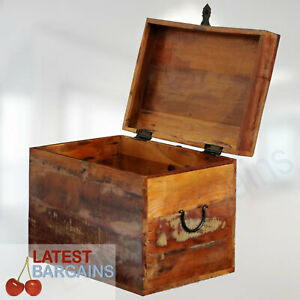 Wooden Storage Chest Blanket Toy Box Timber Trunk Decor Reclaimed Wood