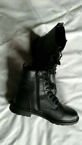BNWT Combat style, Black side zip, Lace Up Boots Size 7