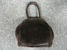 Icing by Claire's Brown Faux Fur Handbag w/Dual Snap & Zipper Close