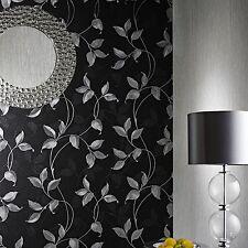 Arthouse Capriata Black and Silver Leaf Wallpaper 290300 Heavyweight Vinyl