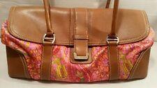 Fashion Designer Liz Claiborne LG Satchel Purse Shoulder Bag Bright Pink Fabric
