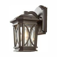 Home Decorators 1-Light Bronze w/ Brass Outdoor 5.75 in. Wall Lantern Sconce