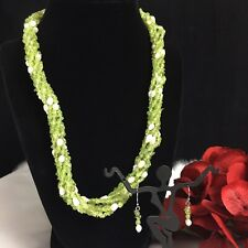 Peridot & Pearl Beaded Necklace & Earring Jewelry Set