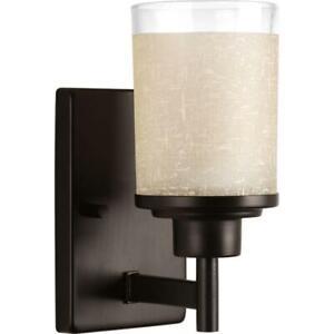 Progress Lighting Alexa C. 1-Light Antique Bronze Bath Sconce w/Etched Umber Gl
