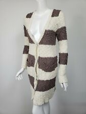 FREE PEOPLE Taupe Brown White Chunky Knit Snapped Sweater Coat sz S