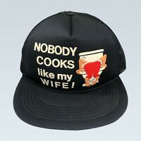 Vintage Black Trucker Snapback Hat 80's NOBODY COOKS LIKE MY WIFE -  DEADSTOCK