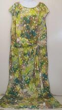 Ashley Stewart 26 Maxi Dress Green Brown Floral Ruffled Stretch Sleeveless NEW