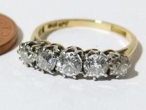 Antique Art Deco 18ct Gold Plat 1.00ct Point Diamond 5 Stone Ring Sz J.1/2 #RBE