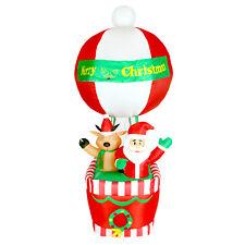 210cm Heissluft Ballon mit Santa & Rentier beleuchtet aufblasbar Weihnachtsdeko