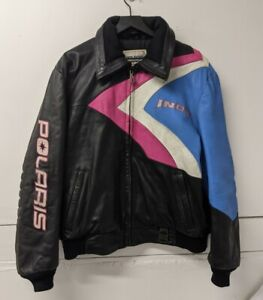 VINTAGE HEIN GERICKE Polaris Racing Snowmobile Black Leather Jacket Men's Large