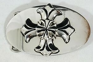 "King Baby Studio Chosen Mens Belt Buckle Polished Silver Cross 3.75"" x 2.25"""