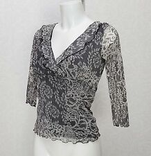 BHS black white Lace ruffle frill V neck 3/4 sleeve Fitted top blouse 8 Petite