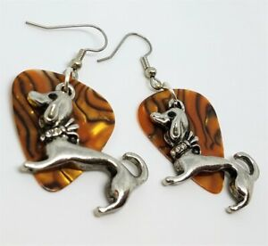 Dachshund with Crystal Collar Charm on Brown Swirled Guitar Pick Earrings