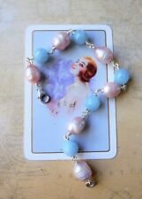 Hand Wired 21cm Fresh Water Pearl & Pale Blue Quartz Bead Bracelet-Stg Clasp