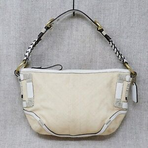 Coach Handbags Womens Small Hobo Soho Angora Linen White Leather Trim Braided