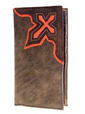 Nocona Mens Western Brown Rodeo Leather Wallet Orange Cowboy Cross