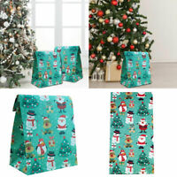 NE_ Christmas Santa Snowman Elk Penguin Gift Bag Candy Packaging Paper Pouch Tre
