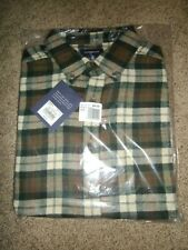 Croft & Barrow Men's Flannel Shirt Sz L Tall Brown Button Down True Comfort NWT
