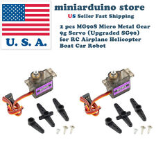 2 MG90S Micro Metal Gear 9g Servo for RC Airplane Helicopter Boat upgraded SG90