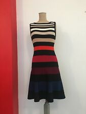 Karen Millen Dress 10-12 S-M Cocktail Business TIGHT KNIT Party Stripes STRETCH