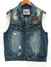 JC Jordan Craig Mens Size M Blue Distressed Patch Biker Raw Hem Jean Vest Jacket