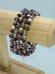 Style & Co Purple & Gold Beaded Coil Bracelet