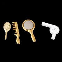 1/12 Dollhouse Miniature Bathroom Accessory Comb Hair Dryer Mirror 4pcs Set .