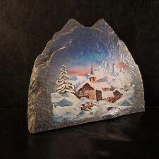 Sérigraphie paysage village montagne neige sur ardoise art déco France N3051