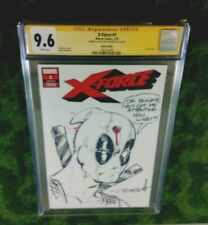 """X-FORCE 1 CGC 9.6 SS: DEADPOOL """"Bullet to the Head"""" Sketch/ Signed by JOHN DELL!"""