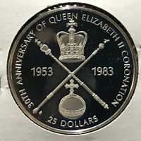 1983 BARBADOS SILVER PROOF $25 CORONATION BRILLIANT UNCIRCULATED CROWN
