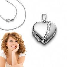 kleines Herz Medaillon für 2 Fotos Bilder Amulett Anhänger mit Kette Silber 925
