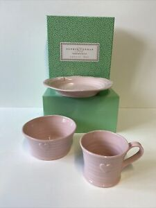 Sophie Conran Portmeirion Pottery Pink Heart Children's 3 Piece Set. NEW. BOXED.