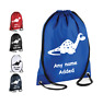 PERSONALISED Drawstring Gym Bag Sac Cute DINOSAUR School PE Kit Sport Boys Girls