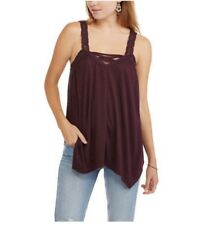 fc113282e35c1 No Boundaries Tank Top Small Solid Lace Trim Strappy Sleeveless Hi Low