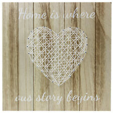35x35cm Cream String Heart Strings Home Is Where Our Story Begins Wooden Art New