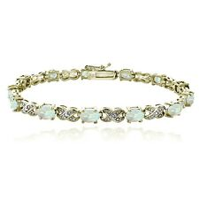 Gold Tone 3ct Created White Opal & Diamond Accent X & Oval Bracelet, 7.25""