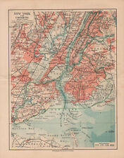 Antique map. United States Of America. City Map Of New York & Suburbs. c 1909