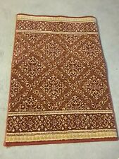 100% Wool New  Zealand Roll Runner Weave Wine Multicolored Geometric Rug 18X26