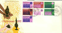 Stamps Australia 1971 Christmas block of 7 on official post office FDC