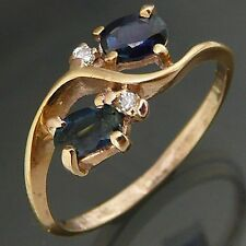 Flowing Natural SAPPHIRE & DIAMOND 9k Solid Yellow GOLD RIGHT HAND RING Sz O